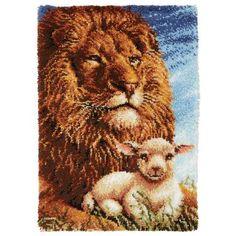 Lion & Lamb Latch Hook Kit - Herrschners