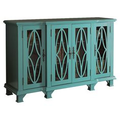 Found it at Wayfair - Accent Cabinet in Blue (699 free shipping) this would take up the whole wall but fit by the french doors