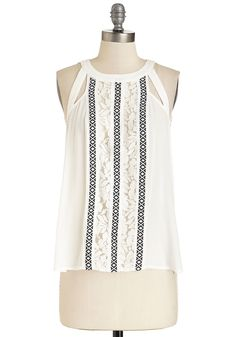 You Can Call Me Alfresco Top. Any fashionista who walks down the street will notice you living up a little outdoor dining in this white top! #white #modcloth