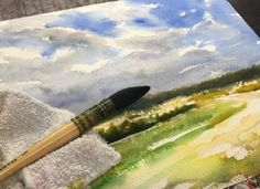 How to Paint Field and Sky Watercolor Painting