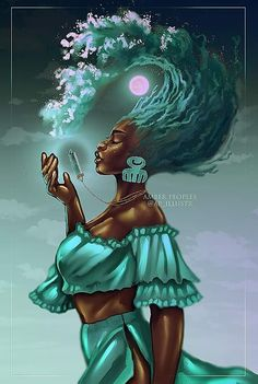 Ocean's Call Art Print by Amber Peoples - X-Small Black Love Art, Black Girl Art, Art Girl, Black Art Painting, Black Artwork, Cg Artwork, African American Art, African Art, Black Girl Cartoon