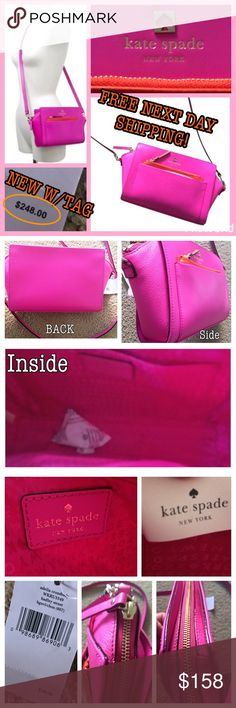 """NWT KATE SPADE NEON PINK & ORANGE CROSSBODY PURSE Brand new w/tags (NWT), AUTHENTIC, hot pink and bright orange leather Kate Spade Adelia purse/Crossbody style #WKRU3349. ZERO FLAWS AND SMOKE FREE! Original retail was $248. Made of 100% leather shell and 100% polyester lining. Comes with care card. Measures 12""""Lx3""""Wx7""""H (not including straps. Strap drop is 20"""" and non-adjustable. Detachable straps. Straps not included in measurements. Super cute for summer!   Tags: color block, retro…"""