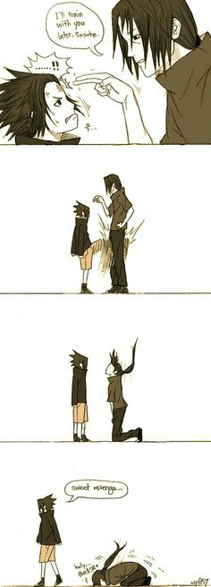 Itachi and Sasuke Uchiha Naruto Shippuden Sasuke, Itachi Uchiha, Naruto Und Sasuke, Manga Naruto, Naruto Cute, Manga Anime, Sasunaru, Narusaku, Anime Meme