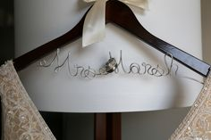 Personalized Bridal hanger at Alexandra and Todd's Regatta Place Wedding on The Newport Bride
