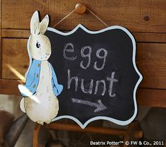 Peter Rabbit Chalkboard plaque - great for a menu or directing people to your Peter Rabbit Baby Shower Peter Rabbit Birthday, Peter Rabbit Party, Beatrix Potter, Happy Easter, Easter Bunny, Easter Eggs, Peter Rabbit And Friends, Easter Activities, Easter Celebration