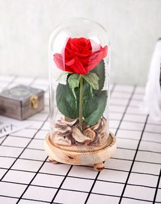 Home improvement products American village dried flowers glass cover home decoration (red rose)
