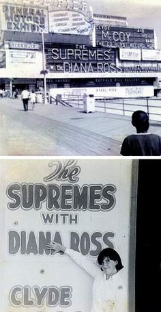 """1967 — With the departure of Florence Ballard came the name change to """"Diana Ross & The Supremes"""". Before the final name was chosen, this photo from Atlantic City's Steel Pier shows an early incarnation, """"The Supremes with Diana Ross""""."""