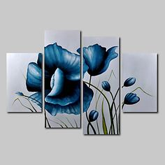 Hand-Painted Oil Painting on Canvas Wall Art Modern Flowers Blue Roses Three Panel Ready to Hang 4395526 2017 – $85.59