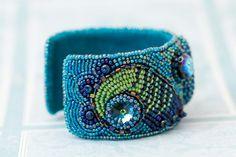 Bead embroidered bracelet cuff Crysocolla bracelet Teal by Sofija