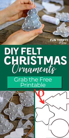 DIY Easy Felt Christmas Ornaments - - Today we are making DIY felt Christmas ornaments using only felt, a few beads, some thread and out free printable ornament template. These little felt Christmas ornaments are so easy to make yourself, but look. Handmade Christmas Decorations, Christmas Ornaments To Make, Christmas Crafts For Kids, Xmas Crafts, Christmas Diy, Christmas Makes To Sell, Felt Christmas Trees, Christmas Crafts To Sell Handmade Gifts, Printable Christmas Ornaments