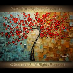 painting for living room - colorful tree, textures