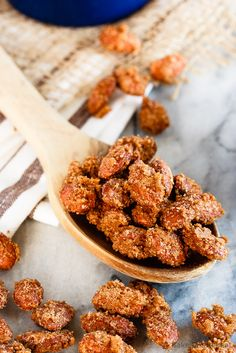 Cinnamon Sugar Almonds - Easy cinnamon sugar almonds. 5 minutes of prep time plus one hour of baking equals completely addictive, crunchy, candied almonds. The best kind of snack!