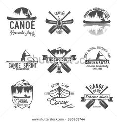 Set of vintage mountain, rafting, kayaking, paddling, canoeing camp logo, labels and badges. Canoe paddle, canoe on lake, canoe trip, canoe river, canoe sunset. Canoe vector logotypes template - stock vector