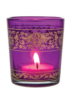 Purple Naina Painted Glass Candle Holder Votives by TaaraBazaar