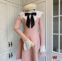 Kawaii Outfit, Kawaii Dress, Kawaii Clothes, Korean Style, Korean Fashion, High Neck Dress, Pink, Outfits, Dresses