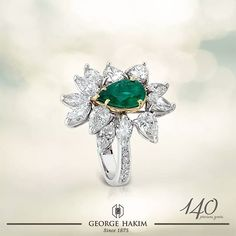 Blossom Like No Other, with this pear cut #Emerald on an exquisite #WhiteGold #Ring with #Diamonds! #GeorgeHakim #140PreciousYears www.georgehakim.com