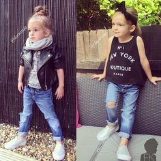 Denim and leather girl fashion casual