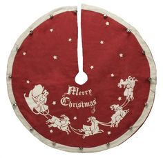 Vintage Style Santa with Sleigh Merry Christmas Red Small Christmas Tree Skirt *** Check out the image by visiting the link.