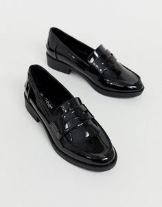 9ca15ecd60e Miss Selfridge patent loafers in black