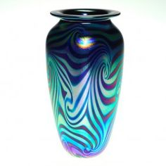 "Robert Eickholt ""King Tut"" Vase, Blue, Purple, 7 1/2"" : Lot 686"