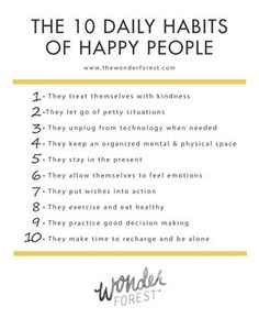 The 10 Daily Habits of Happy People Tips and Hacks.You can find Happy people and more on our website.The 10 Daily Habits of Happy People Tips and Hacks. Good Habits, Healthy Habits, Habit Quotes, Quotes Quotes, Quotes Women, Career Quotes, Wife Quotes, Dream Quotes, Sport Quotes