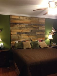 Pallet headboard!!! Don't love the room but would love a headboard like this, a beautiful chandelier to glam it up and simple neutral colors for bedding.