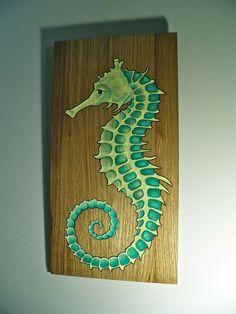 Seahorse Painting, Seahorse Art, Painting On Wood, Seahorses, Desenho Tattoo, Panel Art, Am Meer, Beach Art, Beautiful Paintings