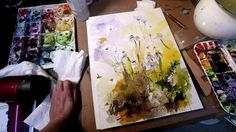 Ginette paints a watercolor and ink chamomile flowers