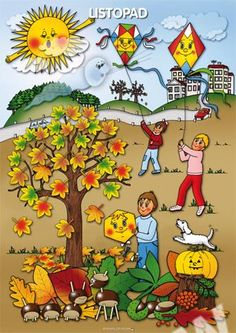 Listopad, tématický obraz Preschool Art Activities, Autumn Activities For Kids, Weather For Kids, Summer Coloring Pages, Picture Composition, Weather Seasons, Autumn Crafts, Seasons Of The Year, Dream Art