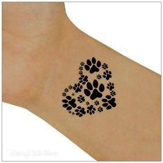 Tijdelijke Tattoo 2 Paw hart pols Tattoos Body door UnrealInkShop
