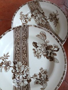 Sometimes I think designers were more inventive with brown transferware designs than any other colour. Think they just used more botanical designs since it was brown. blue could be more romantic, etc. But loooove brown to go with Primitives! Vintage Plates, Vintage Dishes, Vintage China, Antique Plates, Antique Silver, Decoration, Art Decor, Brown Plates, Antique Glassware