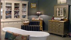 Bathroom for dream home. Bathroom Wall Decor, Bath Decor, Kitchen And Bath, Kitchen Decor, Decorating Kitchen, Clawfoot Bathtub, Warm And Cozy, Cribs, Sweet Home