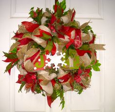 Rustic  red and green Christmas Wreath, Country Mesh Wreath,Christmas Joy Wreath,Christmas Poinsettia Wreath by LisasLaurels on Etsy