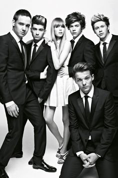 British band One Direction wearing Burberry tailoring for their @VOGUE.COM UK shoot with model Edie Campbell