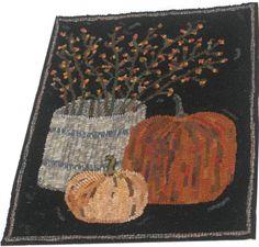 Primitive Hooked Rug Vintage Type Crock of Bittersweet & Pumpkins