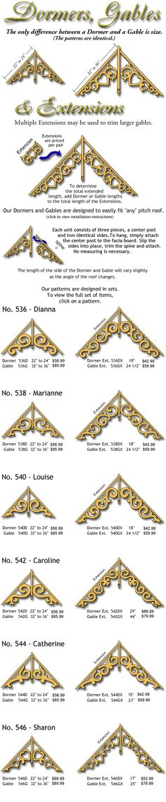 'Louise' style matches our existing brackets, but I really like the 'Jennifer' style Victorian Decor, Victorian Homes, House Trim, Unusual Buildings, Home Porch, Exterior Trim, Victorian Architecture, Stencils, Woman Painting