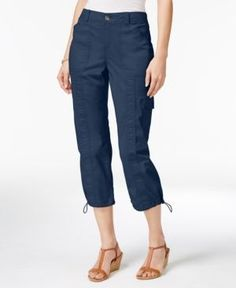 Style & Co Knit Waistband Cargo Capri Pants, Only at Macy's - Blue 12
