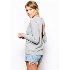 Grey Long Sleeve Backless Loose Sweater | pariscoming