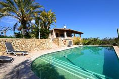 """in Maria de la salut, ES. Finca for 6 people, 2 double bedrooms, 1 bedroom in an open upper level, 1 bathroom, pool and idyllic outdoor area      The small, snug Finca """"Es Pujolet"""" is located in an idyllic position, on a hill outside the village of Maria de la Salud, a fam..."""