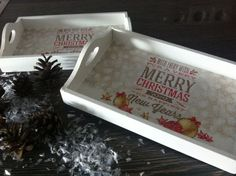 2 MERRY CHRISTMAS TABLETT DEKO Geschenkidee Weihnachten  XMAS Santa NEU