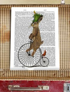 March Hare on Penny Farthing - Alice in Wonderland decor alice in wonderland print Mad hatter tea party mad march hare art print hare art
