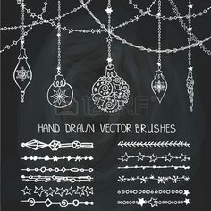 Christmas Hand drawn garland brushes with ornate balls.New year doodle pattern textures.Decoration vector set.Winter symbols in line border.Used brushes included.Design template,card.Chalkboard. Stock Photo - 49550024