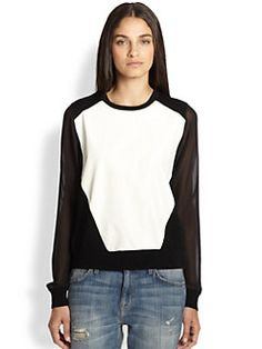 Rebecca Minkoff - Leon Leather-Paneled Sheer-Sleeved Sweater Saks Fifth Avenue, Rebecca Minkoff, Clothes For Women, My Style, Uni, Sweaters, Leather, Shirts, Shopping