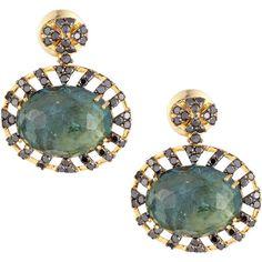VIANNA B.R.A.S.I.L 18k Green Tourmaline & Black Diamond Drop Earrings ($6,390) ❤ liked on Polyvore featuring jewelry, earrings, black, oval earrings, black jewelry, black earrings, 18k jewelry and black diamond jewelry