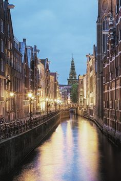 The Channles of Amsterdam at dusk, The Netherlands.