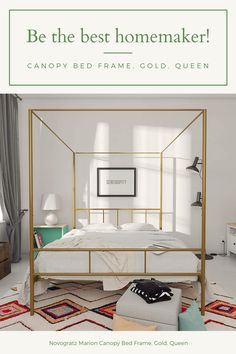 Novogratz Marion Canopy Bed Frame, Gold, Queen Country Curtains Catalog, Canopy Bed Frame, Interior Decorating, Interior Design, Curtain Rods, Soft Furnishings, Bed Sheets, Home Remodeling, Luxury Homes