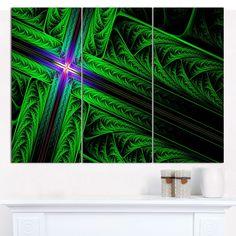 """Designart 'Green Fractal Cross Design' Abstract Canvas Art Print- 3 Panels 36""""x28"""""""