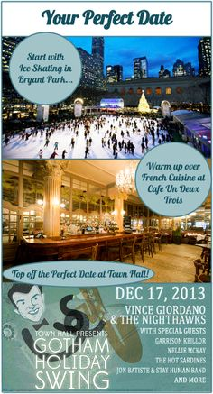 Your Perfect Date!  Start cold and end hot with ice skating, French cuisine, and Hot Jazz at Town Hall!