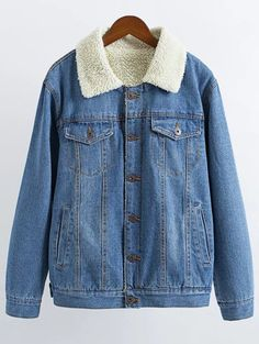 Lamb Wool Denim Jacket - LIGHT BLUE S Mobile