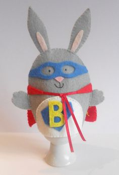 Super Bunny felt egg cosy